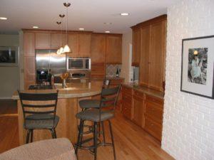 Custom cherry wood shaker kitchen
