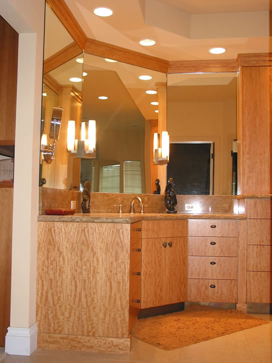 Block Mottled Anigre Vanity Cabinets Feist Cabinets And Woodworks Inc