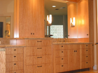 Block Mottled Anigre Vanity Cabinets