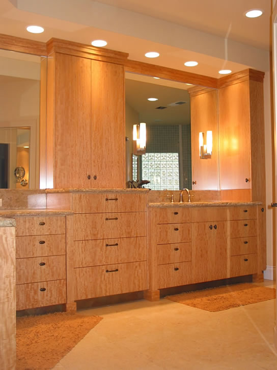 Custom bathroom cabinetry feist cabinets and woodworks inc for Anigre kitchen cabinets