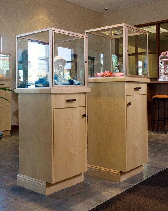 Free-standing maple display cases