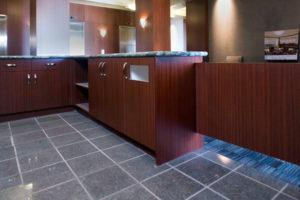 Sapele work area cabinets