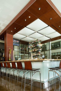 Cherry column and ceiling treatment