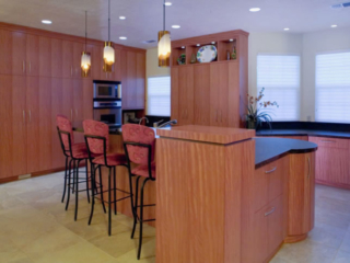 Contemporary block mottled makore kitchen cabinets