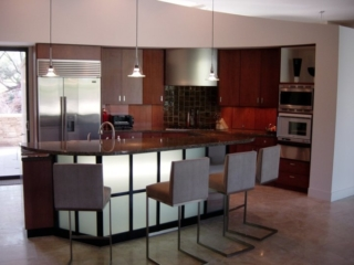Contemporary kitchen with an island of light
