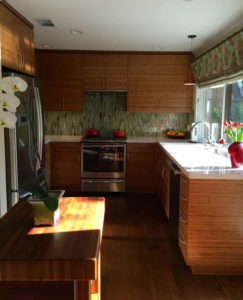Kitchen Cabinets with Horizontal Bamboo Grain