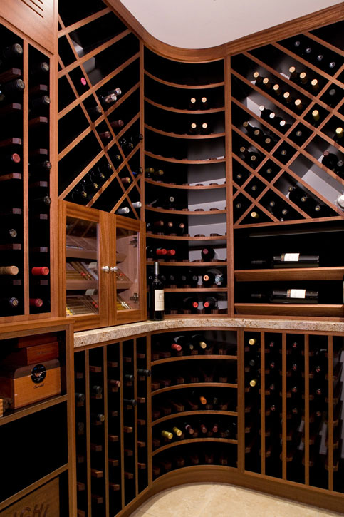 Wine room with a built-in humidore
