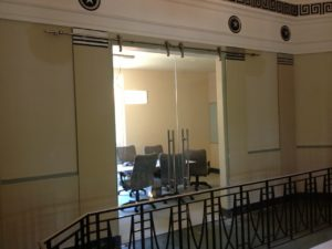 Sliding clear glass doors for business