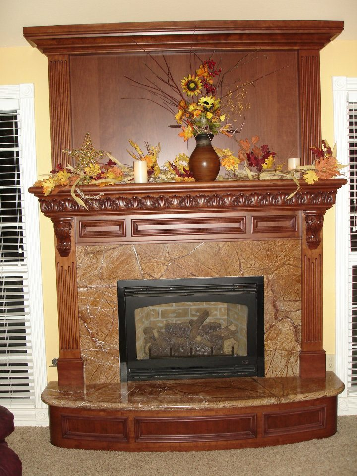Cherry Mantel with Enkeboll Carvings and Fluted Columns