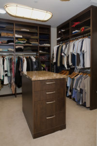 Closet shelving and island