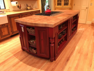 Painted and Glazed Kitchen Island Cabinet