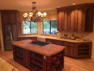 Knotty Alder Cabinets with Angled Shelving