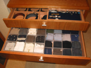 Belt, jewelry and sock drawers