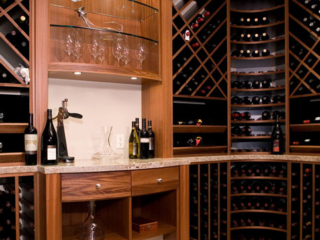 Wine room with lighted glass display