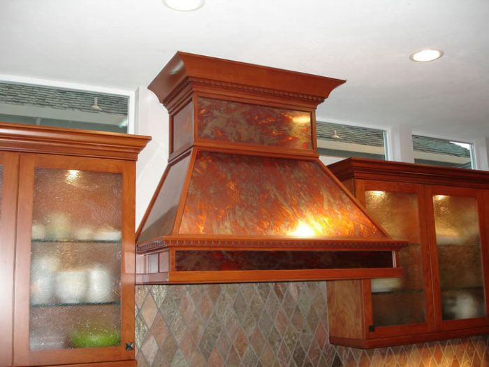 Cherry and copper metal hood